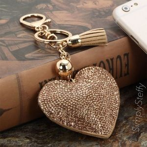 Accessories - 🎉SALE!🎉 Pavè Heart Tassle Key Fob Bag Charm